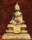 19th Century Gilded Bronze Thai Buddha