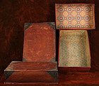 Antique Red and Black Nesting Sewing Boxes, Paper Art