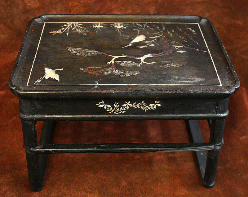 Very Rare Korean Black Lacquered Mother of Pearl Soban Table