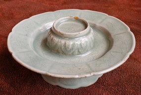 Exquisite Lotus Form Celadon Saucer, 12th Century