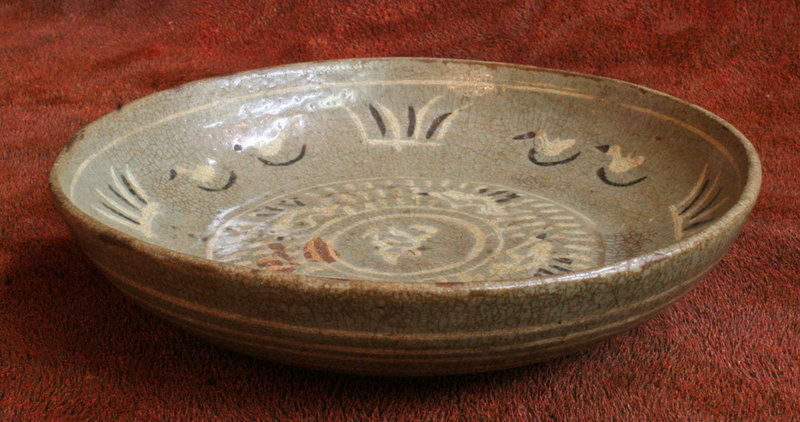 Rare Early Buncheong Bowl with Black and White Inlay