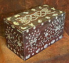 Intricate and Rare Large Lacquered Mother Of Pearl Box