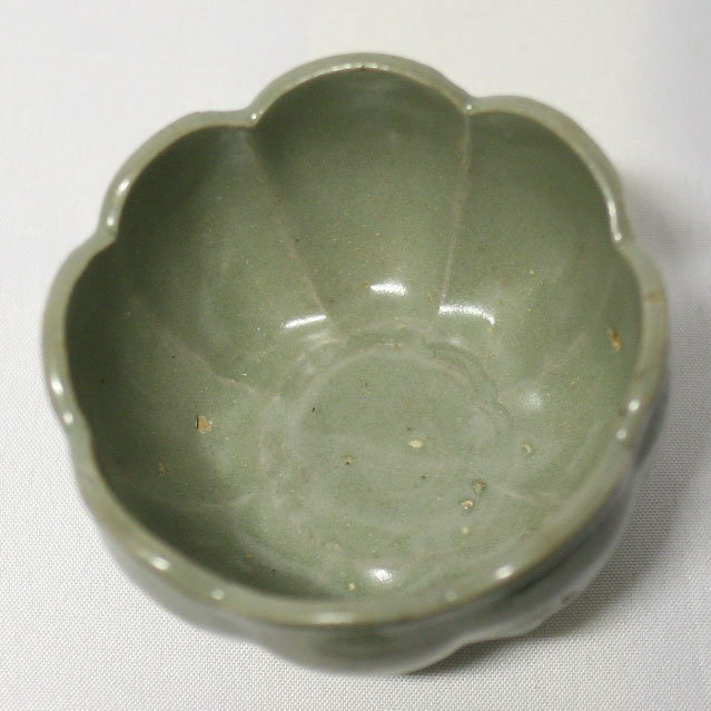 Delicately Incised 13th Century Lotus Form Celadon Cup
