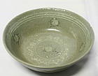 Finely Detailed Late 12th Century Inlaid Celadon Bowl