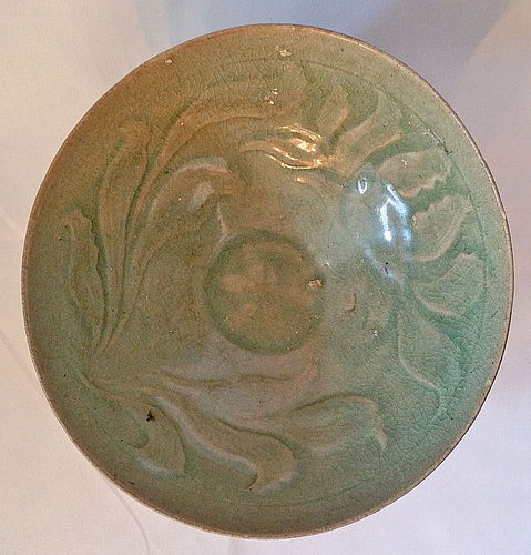 12th Century Celadon Bowl with Carved Lotus Blossoms