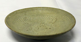 Hand and Stamp Inlaid 15th Century Buncheong Bowl