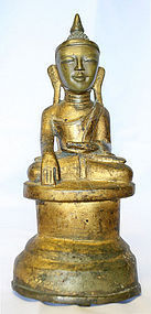 Burmese Buddha w/ Human Face and Primitive Inscription