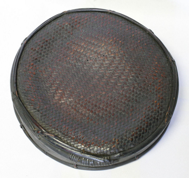Very Rare 19th Century Woven Bamboo Basket and Lid