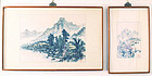 Pair of Korean Antique Landscape Paintings by Suk Woo
