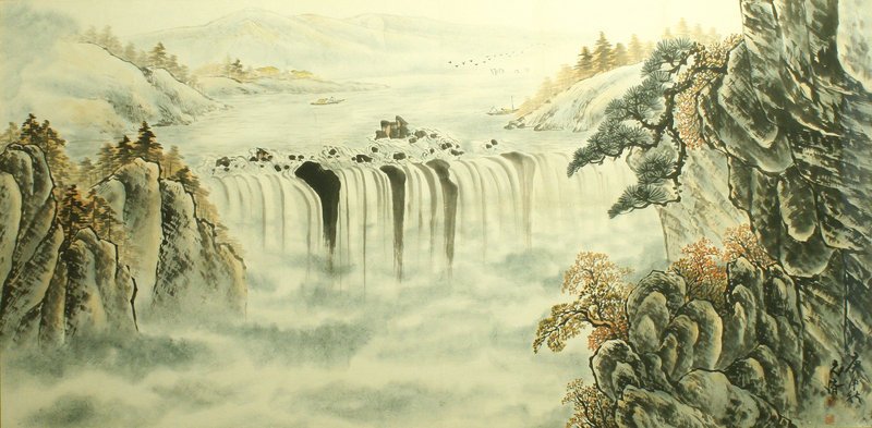 Large Waterfall Painting by Kim Kyung Soo