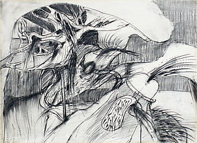 Charcoal by Don Ahn, with original 1965 gallery label
