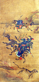 Very Fine Joseon Dynasty Korean Tiger Hunting Painting