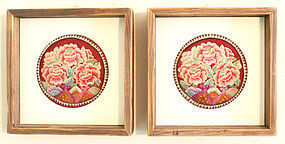 Deluxe Pair of Finely Embroidered 19th Century Korean Pillow Ends