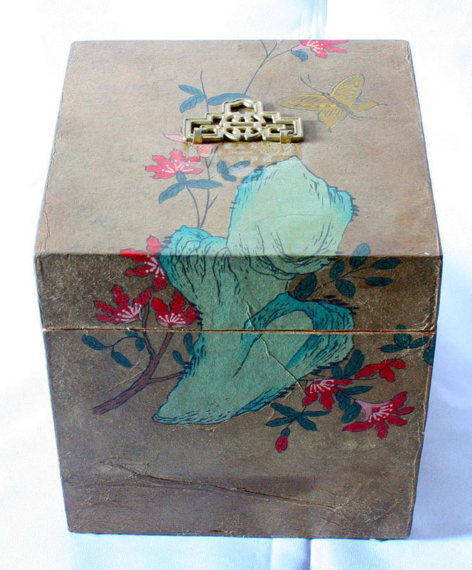 Lovely Korean Antique Box with Flowers, Rocks, and Butterfly