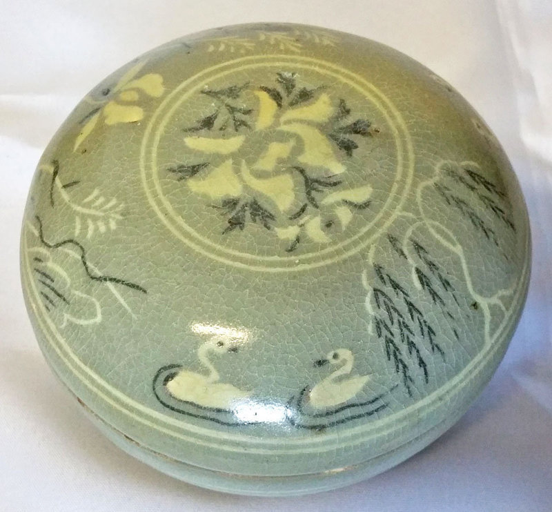Very Fine and Rare Korean Goryeo Dynasty Inlaid Celadon Covered Bowl