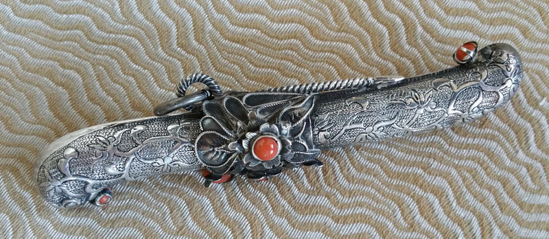 Beautiful Rare Silver and Coral Eunjangdo with Very Fine Floral Design