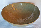 13th Century Celadon Bowl with Carved Lotus Blossoms,Symbol of Rebirth