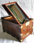 Rare Antique Korean Mirror Box with Inlaid Wood Design