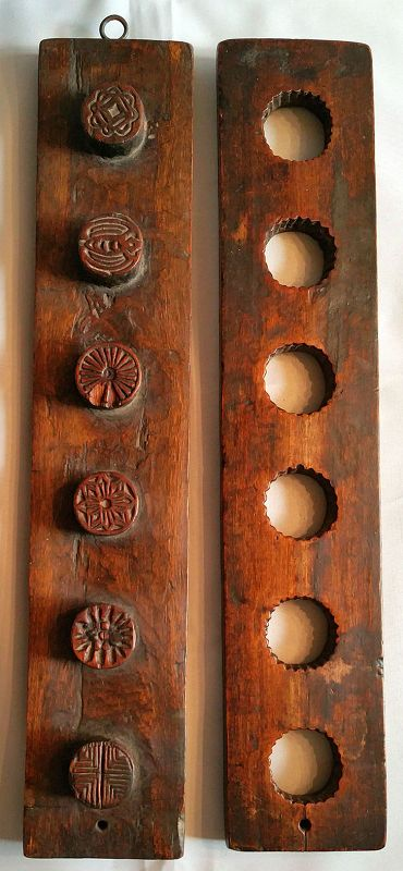 Large Antique Korean Rice Cake Press Mold with traditional symbols