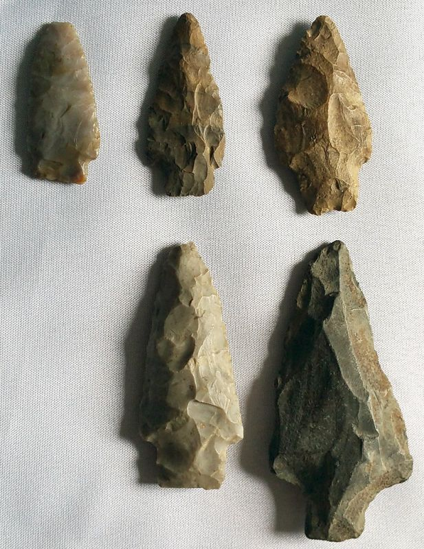Extremely Scarce Set of 5 Prehistoric Korean Arrowheads, 1500-1000 BCE