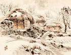 A Lovely Korean Village in a Winter Landscape by Kim Dae Won