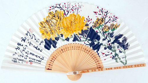 Chrysanthemum Fan Painting by Jeon Yeong Suk aka Yeo Cheong