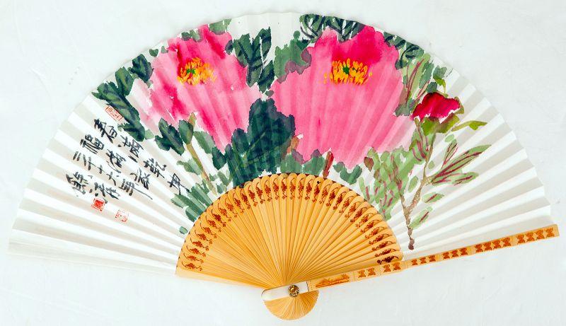 Peony Fan Painting by Jeon Yeong Suk aka Yeo Cheong