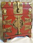 Red Lacquered Korean Safe with Beautiful Auspicious Metal Work