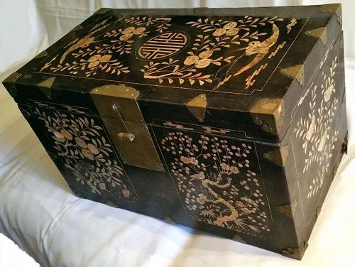 Rare 19th Century Black Lacquered Box with Cranes, Trees, and Flowers