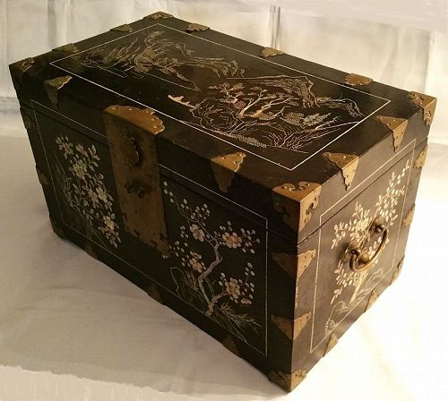 Rare 19th Century Black Lacquered Box w/ River and Mountain Landscape
