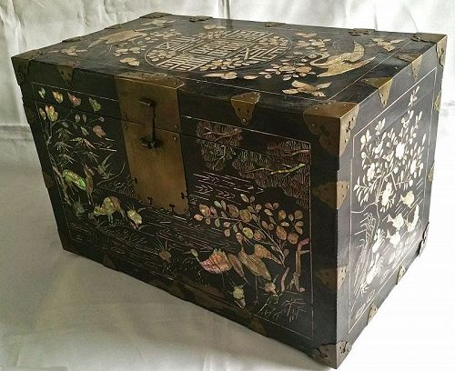 Rare 19th Century Black Lacquered Box w/Ten Symbols of Long Life