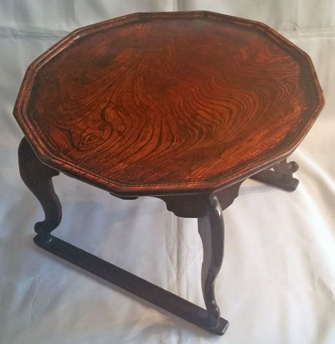 19th Century Twelve-Sided Tiger Leg Soban Dining Table of Zelkova Wood