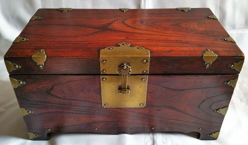 Fine and Rare Inkstone Box constructed entirely of Zelkova Wood