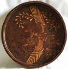 Korean Antique Lacquered Phoenix Tray w/ Tortoise Shell and Shark Skin
