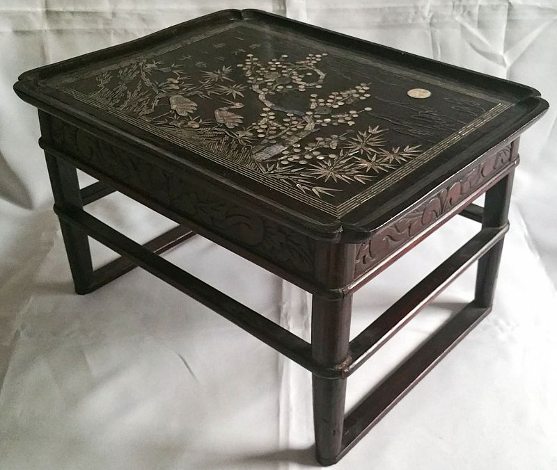 19th Century Korean Black Lacquered Mother-Of-Pearl Dining Table
