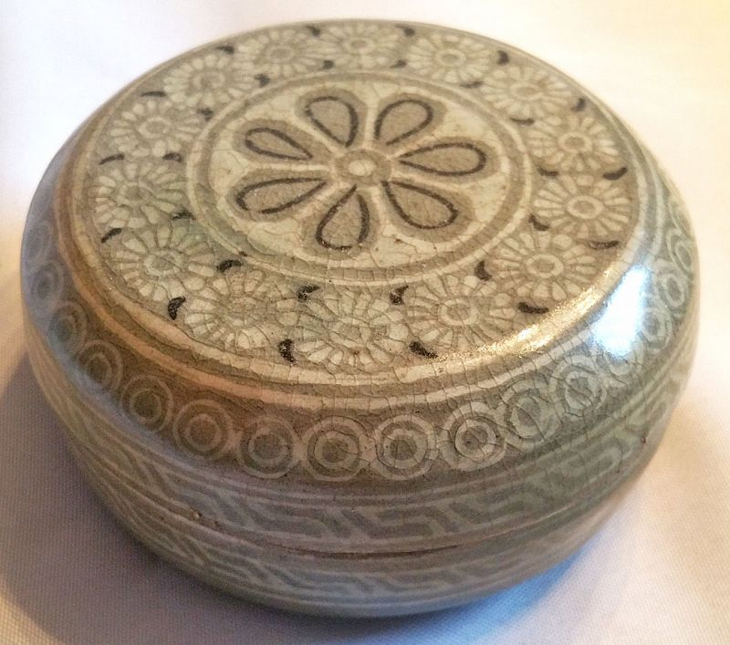 Fine 14th Century Korean Inlaid Celadon Cosmetic Box with Rich Color