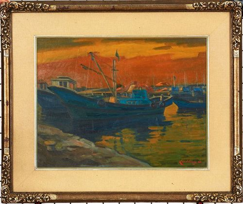 Gorgeous Korean Wharf Painting by Lee Hwang, Original Beautiful Frame