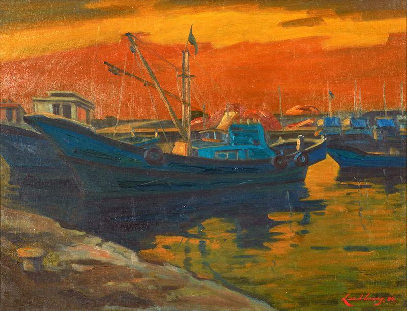 Gorgeous Korean Wharf Painting by Lee Hwang, Original Beautiful Frame