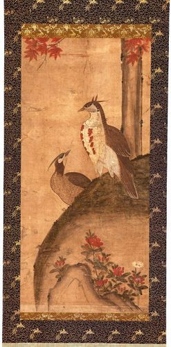 19th Century Korean Royal Court Painting of Pheasants and Azaleas