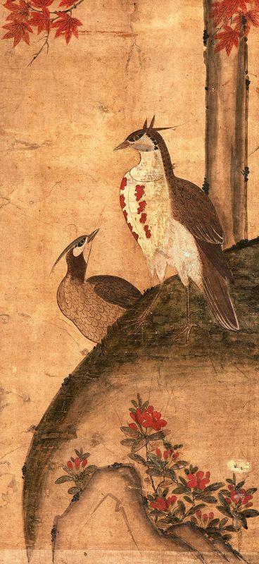 19th Cent. Korean Royal Court Artist Painting of Pheasants and Azaleas