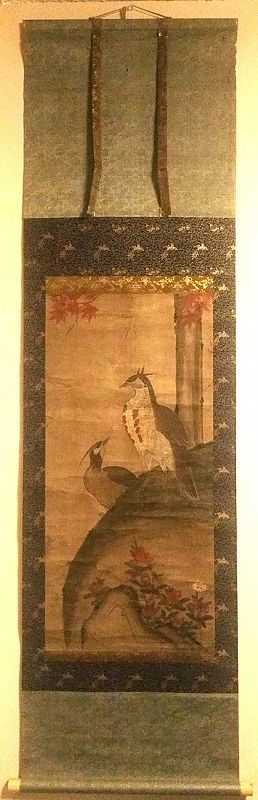 19th Cent. Korean Royal Court Artist Painting of Pheasants and Azaleas