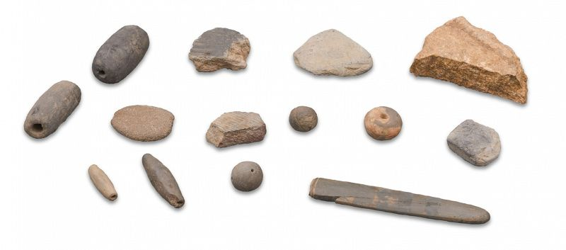 14 Stone Artifacts from 7th C. Nakhwa-am Cliff of the Falling Flowers