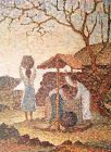 Korean Village Life, a Beautiful Oil Painting by Won Hyeok Pak, 1966