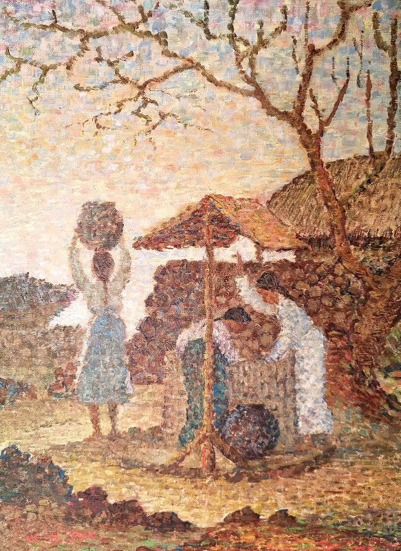 Korean Village Life, a Beautiful Oil Painting by Won Hyeok Pak, 1966