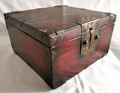 Beautiful and Rare 19th Century Korean Elm Wood Document Box