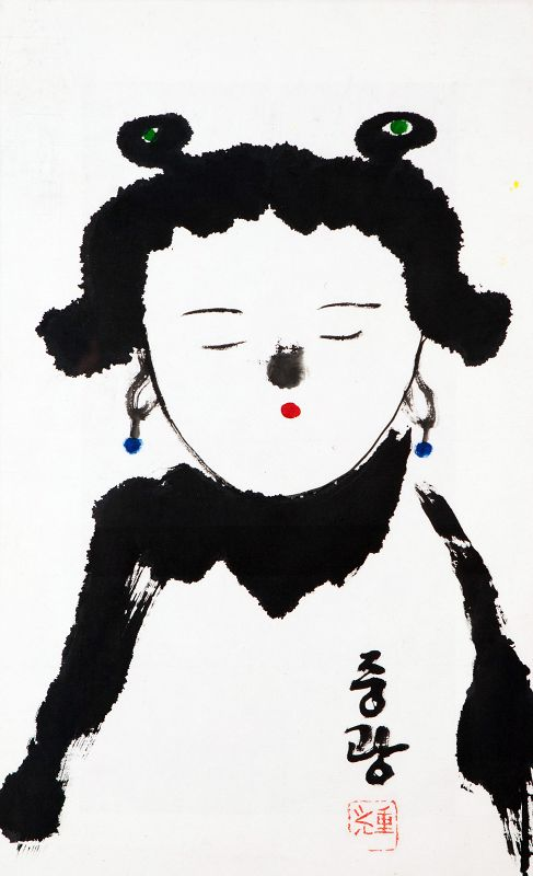 Meditating Child Zen Painting by famous Korean Monk Jung Kwang Sunim