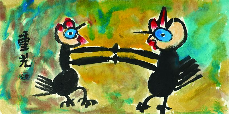 Rare Dancing Chickens Painting by the Famous Mad Monk Jung Kwang Sunim