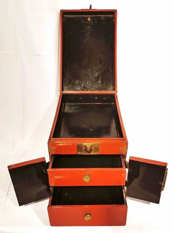 Red Lacquered Korean Safe with Beautiful Auspicious Symbols