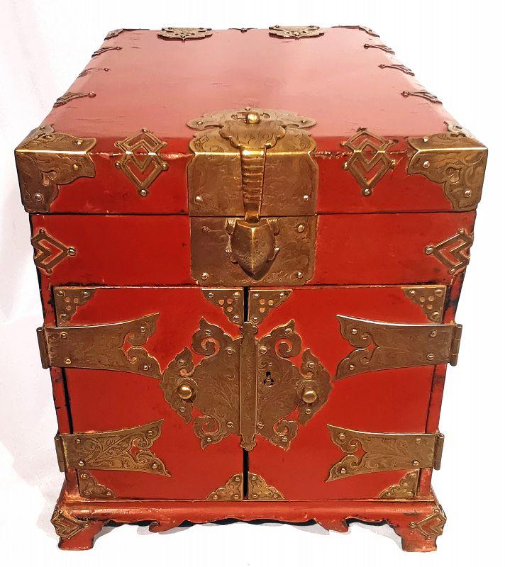 Red Lacquered Korean Safe with Beautiful Auspicious Symbols