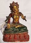 Painted Bronze Qing Dynasty Chinese Guan Yin Bodhisattva of Compassion